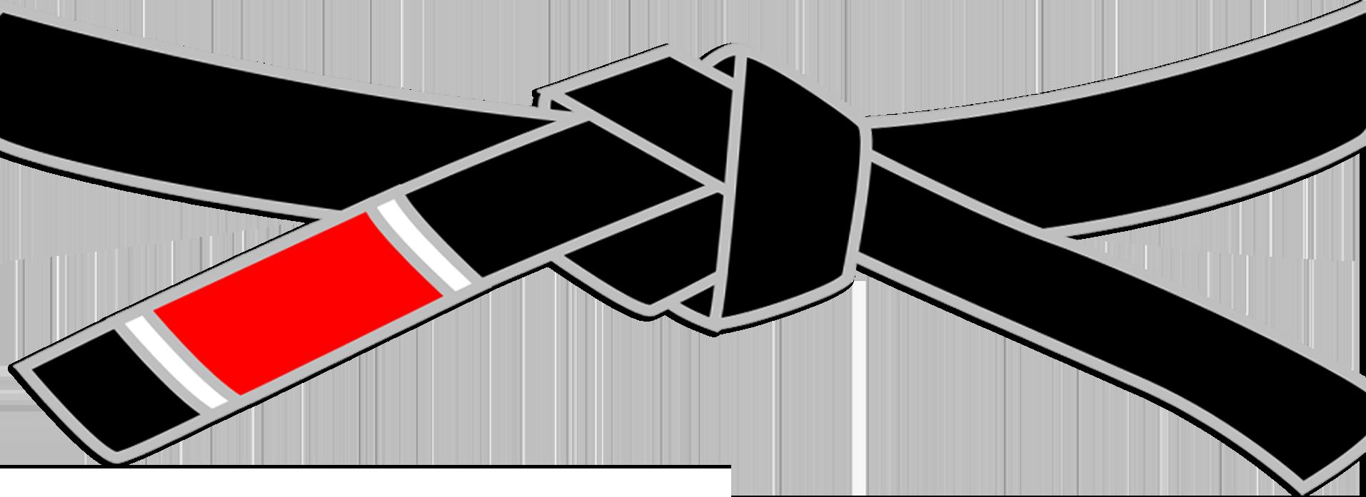 Bild på ett svartbälte som ligger över video